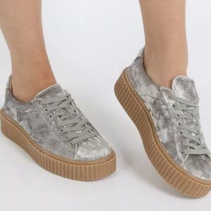 Crushed velvet lace up creeper sneakers shoes